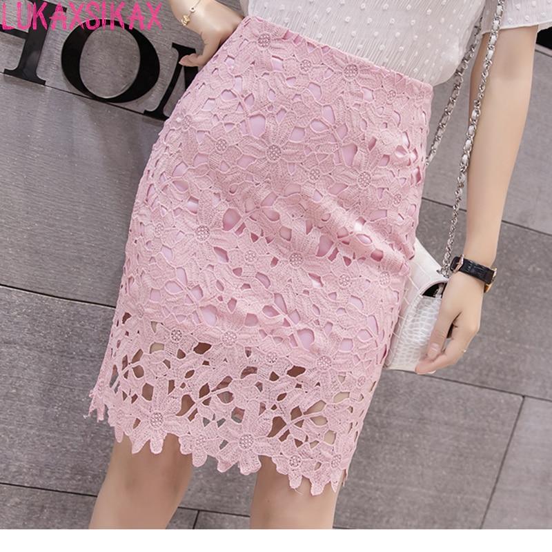 cb91ff6503c9e New Arrival 2018 Summer Women Skirt High Quality Hollow Out Lace Skirt  Korean Style High Waist