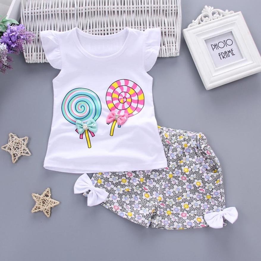 2PCS Toddler Kids Baby Girls Outfits Lolly T-shirt Tops+Short Pants Clothes Set Conjuntos Para Menino #Y104 2pcs children outfit clothes kids baby girl off shoulder cotton ruffled sleeve tops striped t shirt blue denim jeans sunsuit set