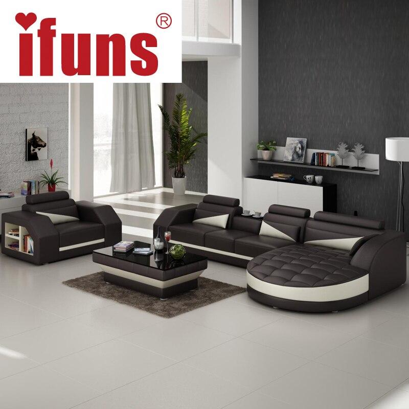 IFUNS Designer Corner Sofa Bedeuropean And American Style Sofarecliner Italian Leather Set Living Room Furniture