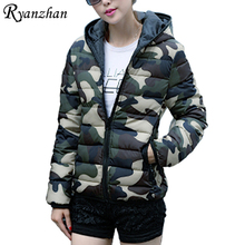 Ryanzhan 2017 New Plus Size Autumn And Winter Down Jacket Camouflage Printed Short Design Winter Jacket Women Outerwear Overcoat