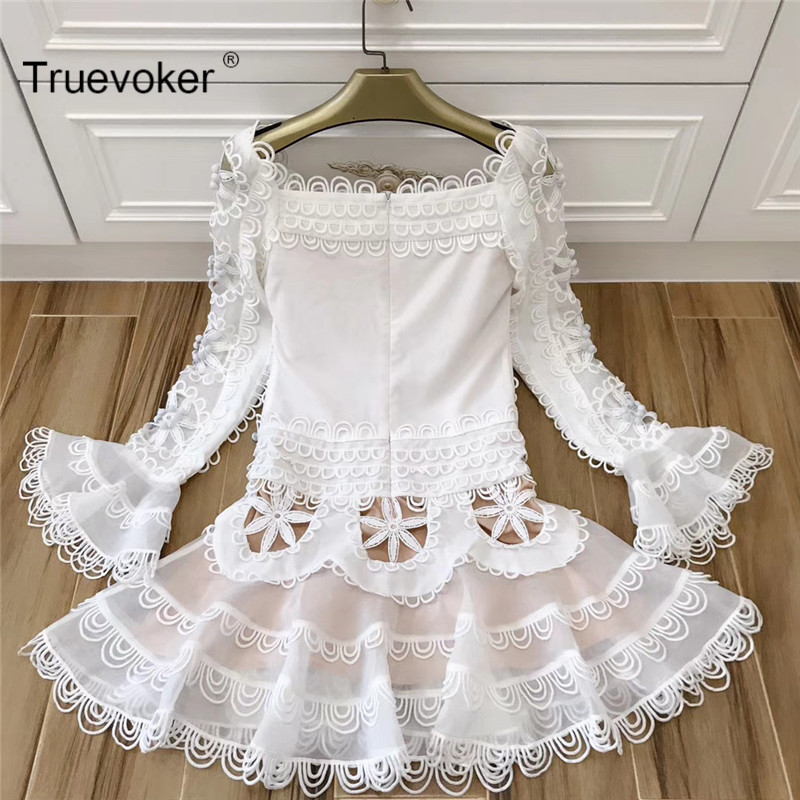 Truevoker New Spring Designer Dress Womens Long Sleeve Flower Square Collar Cute Princess Appliques Embroidery Cutout Dress