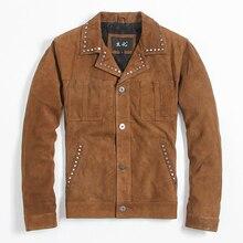 2017 г. мужские коричневые повседневные заклепки, кожаные куртки отложной воротник плюс Размеры XXXL мужчины тонкие кожаные пальто фабрики Бесплатная доставка