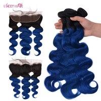 USEXY волосы 1B/синий пучки волос от светлого до темного цвета с фронтальной бразильский человеческие волосы переплетения средства ухода за ко
