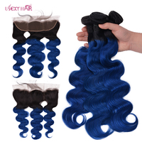 USEXY HAIR 1B/Blue Ombre Bundles With Frontal Brazilian Human Hair Weave Body Wave 3 Bundles With Frontal Closure Remy Hair
