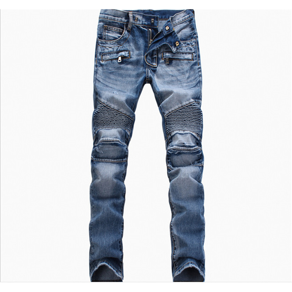 Brand Moto Biker Jeans Men Pleated Zipper Slim Straight Casual Mens Jeans Denim Side Pockets Skinny Jogger Pants High Quality 2017 fashion patch jeans men slim straight denim jeans ripped trousers new famous brand biker jeans logo mens zipper jeans 604