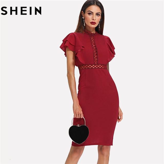 SHEIN Burgundy Red High Waist Vintage Ruffle Sleeve Lady Bodycon Dress 2018 Elegant Retro Party Lace Eyelet Hem Slit Dresses New