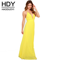 HDY Haoduoyi Solid Color Cross Back Dress Deep V Neck High Waist Strap Maxi Dress Sexy