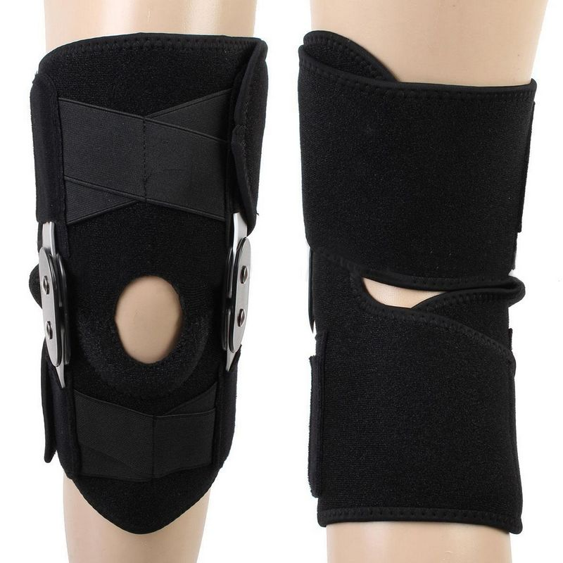 Mayitr Black Adjustable Hinged Knee Brace Support Protector Arthritis Injury Sports Foot Care Tools