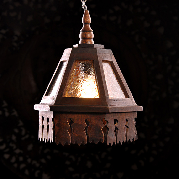 Southeast Asian pendant lamps solid wood carving hotel restaurant bar personality corridor balcony pendant lights ZA MZ124 southeast asian restaurant chandeliers teahouse lights tea houses bamboo chandeliers creative balcony lamps za zb2