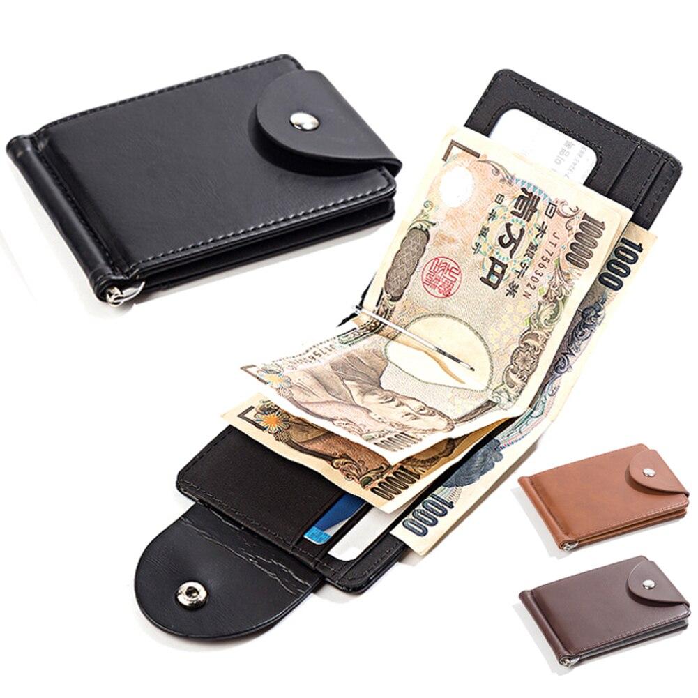 Moda erkek küçük cüzdan para klip cüzdan Metal deri ince erkek kart düzenleyici Minimalist Carteras Hombre