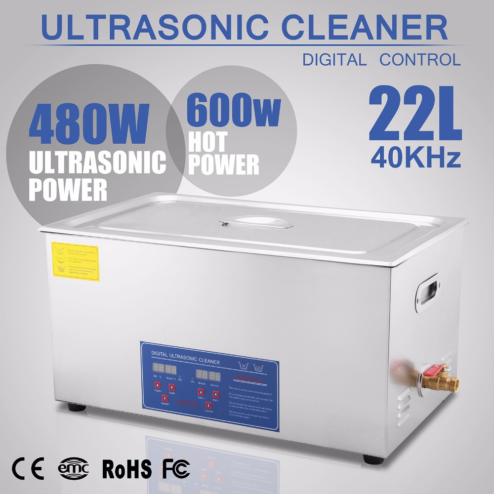 VEVOR Commercial Ultrasonic Cleaner 22L Ultrasonic Cleaner For Cleaning Eyeglasses Rings Large Capacity Heated Ultrasonic Cleane