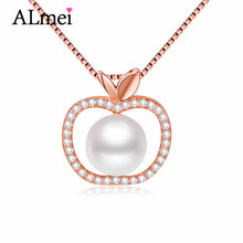 Almei 7mm perlas de agua dulce perla collar de oro rosa plateado eternidad apple colgante de joyería fina de plata de ley 925 con la caja cn045(China (Mainland))