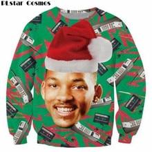 Plstar Космос 3D модные Свежий принц Рождество Crewneck Толстовка Уилл Смит с Рождественская шапка потливость пуловер Топы женские/мужские