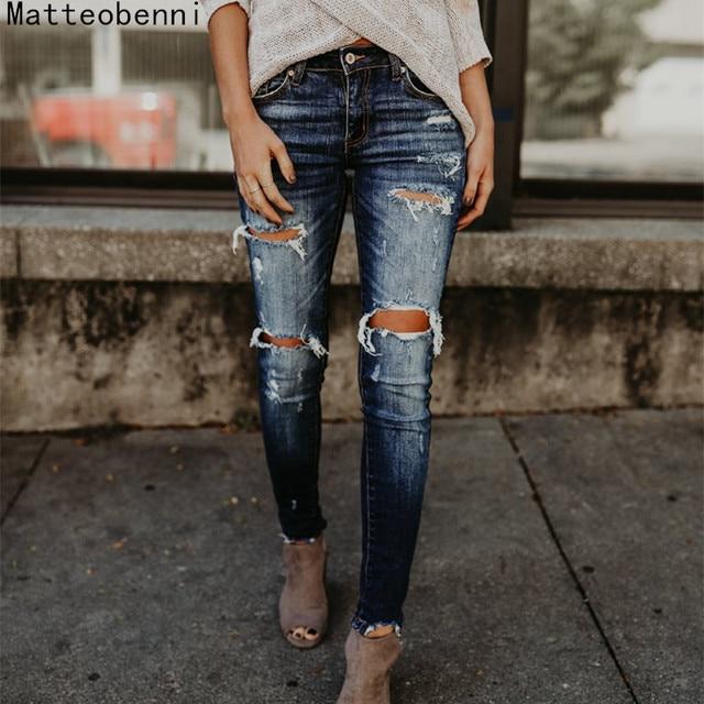 164e17c825 Boyfriend Hole Ripped Jeans Women Pants Cool Denim Vintage skinny push up  jeans High Waist Casual ladies jeans Slim mom jeans