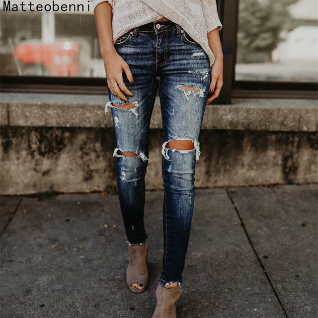 Boyfriend Hole Ripped Jeans Women Pants Cool Denim Vintage skinny push up jeans High Waist Casual ladies jeans Slim mom jeans