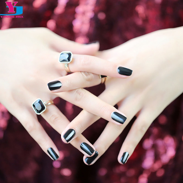 Elegant Pure Black 100% Real Nail Varnish UV Gel Polish Nail Art ...