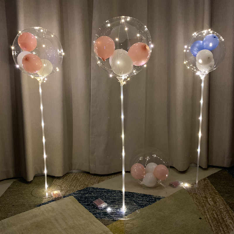 birthday balloon stick birthday party decorations kids LED ligth clear balloons globos stand holder wedding decor supplies