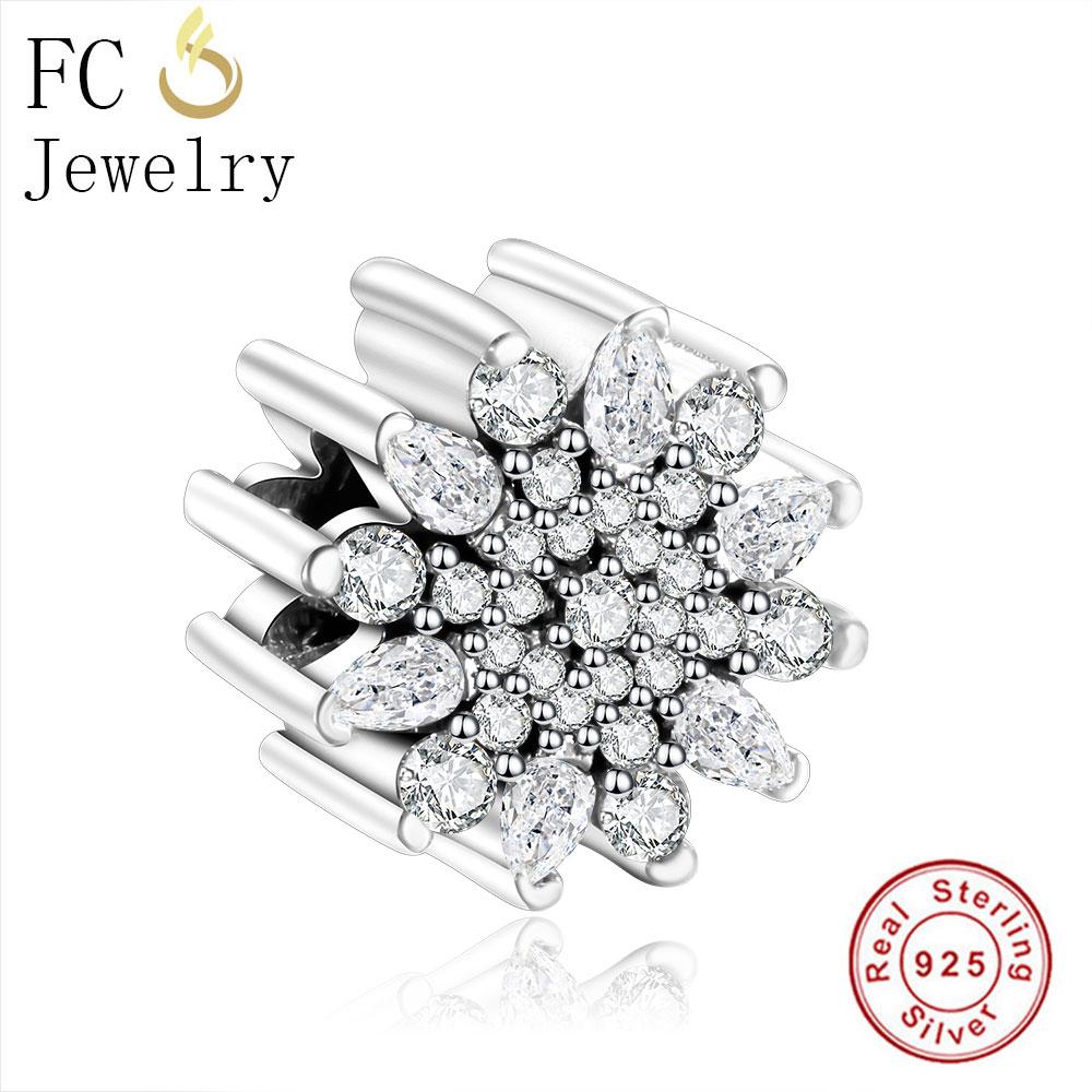 FC Jewelry Fits Original Pandora Charms Bracelet Berloque 925 Sterling Silver Beads Zircon Flower Luxury Fashion Women Gifts