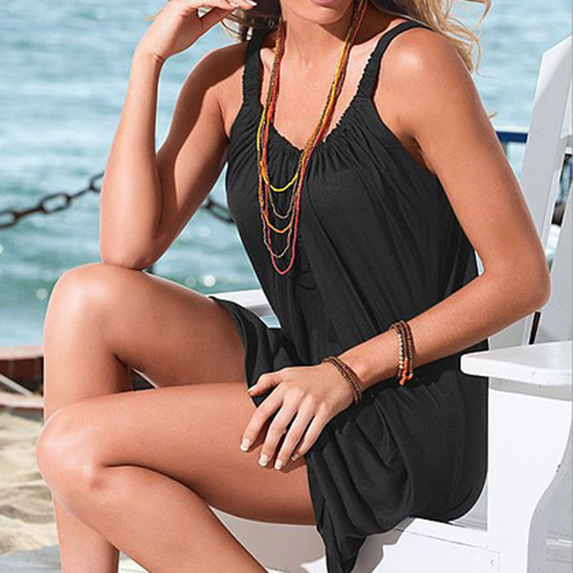 Summer Beach Dress Boho Strap Loose Sexy Vest Dress Women Sleeveless Sundress Casual Plus Size Short White Dress Black Vestidos 4