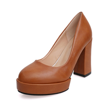 Autumn new round head work high heels thick new single women leather shoes waterproof professional shoes lighter black 10 cm
