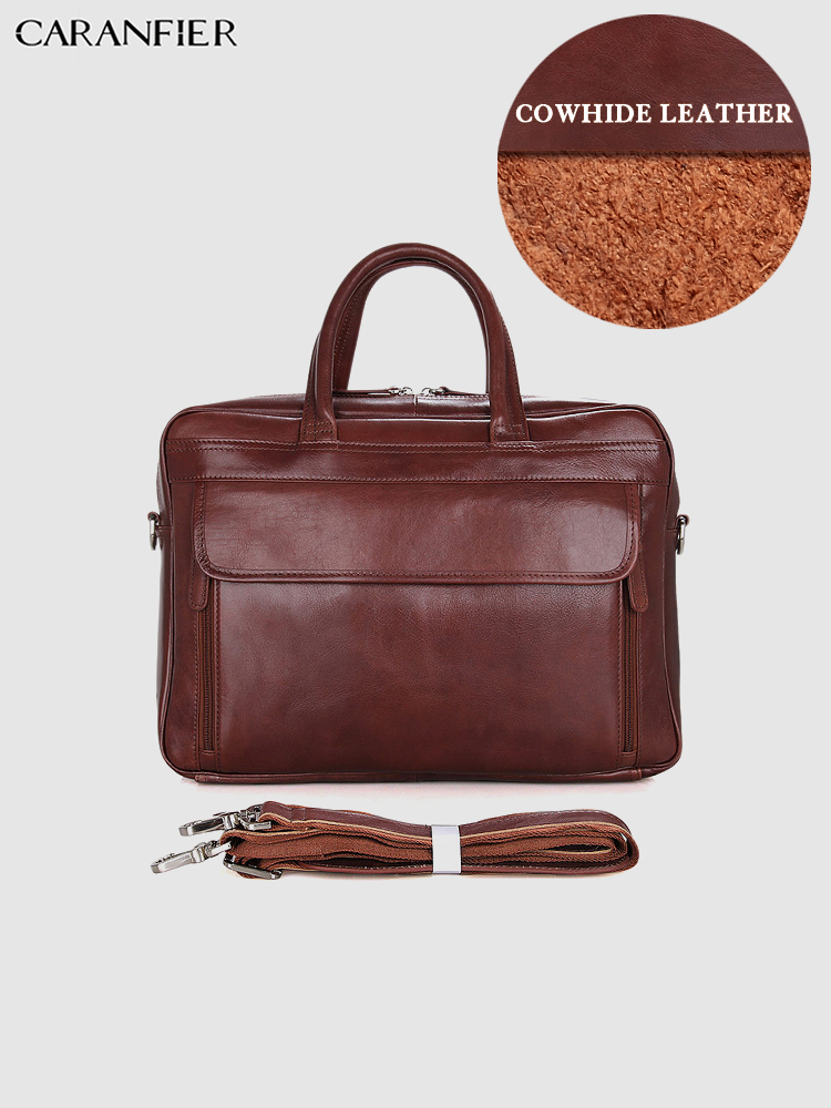 CARANFIER Mens Briefcase Genuine Cowhide Leather Multi-function Large Capacity 15 Inches Laptop Bags Business Office HandbagsCARANFIER Mens Briefcase Genuine Cowhide Leather Multi-function Large Capacity 15 Inches Laptop Bags Business Office Handbags