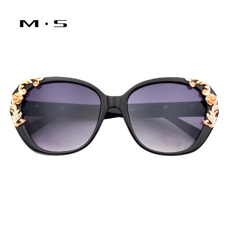 MS Sunglasses Women Brand Designer Oversized Frame Vintage Girls Retro Pierced Female Sun Glasses