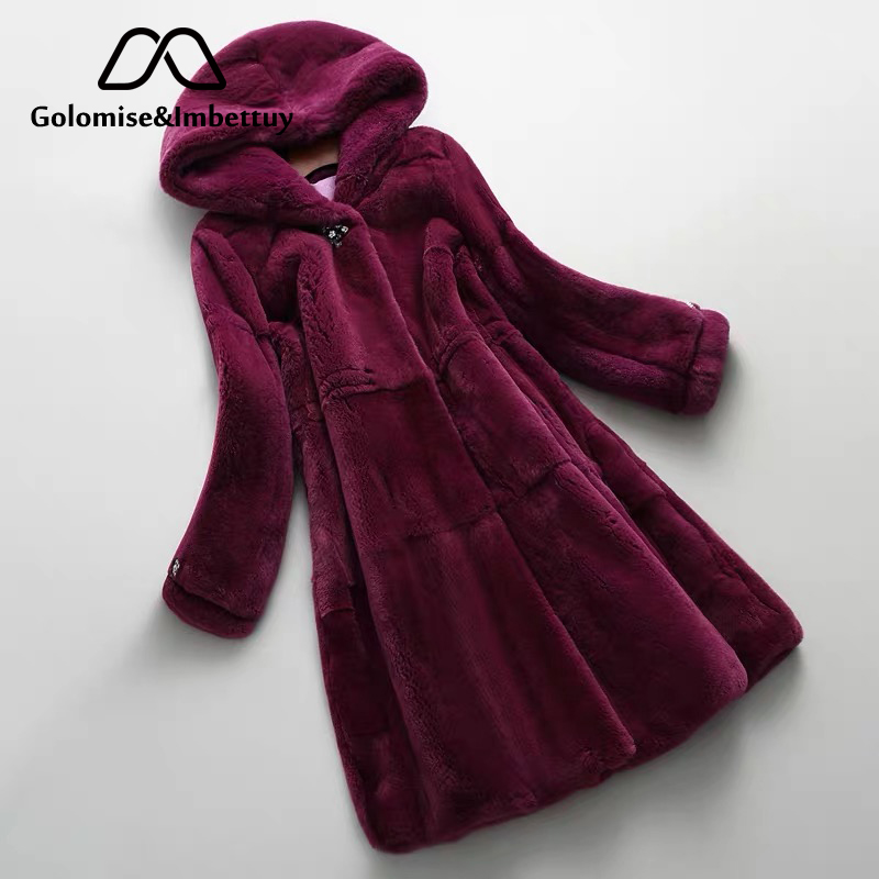 Golomise&Imbettuy Real/Genuine Rex Rabbit Fur Coat Women Winter Natural Rex Rabbit Fur Coat/Jacket With Hood
