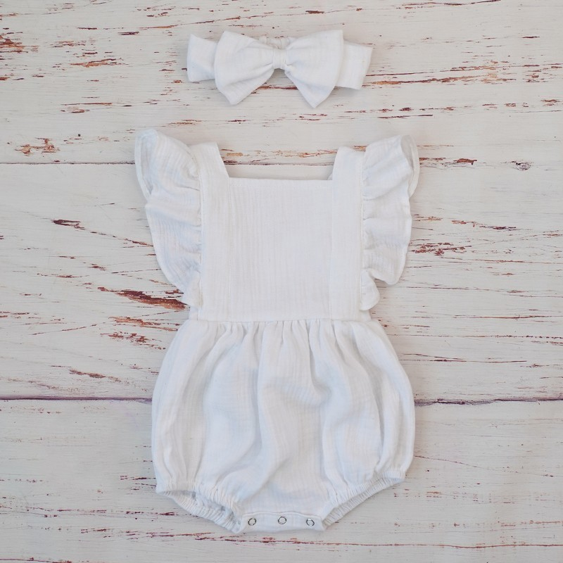 Organic Cotton Baby Girl Clothes Summer New Double Gauze Kids Ruffle Romper Jumpsuit Headband Dusty Pink Playsuit For Newborn 3M | Happy Baby Mama