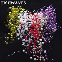 FISHWAVES 5 M Rotondo Perla Perline Per Il Partito di Fascino Del Fiore Accessori Fai Da Te Mestieri di Nozze Fornitura Decorazione Bouquet di Perline Colorate(China)