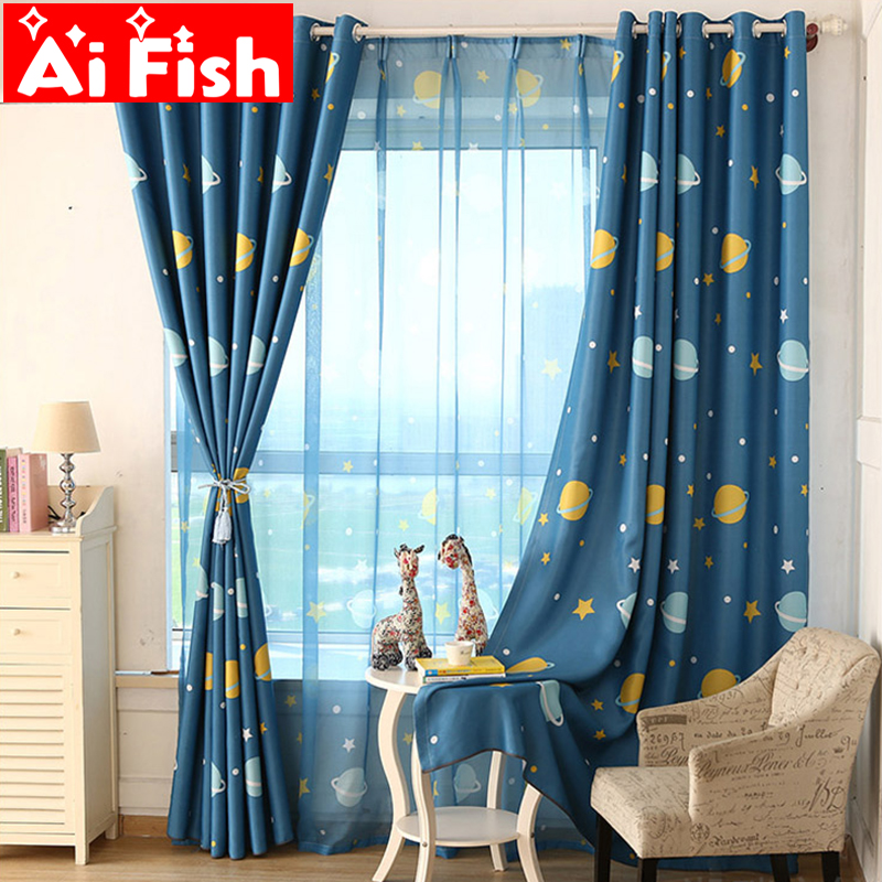 Børneværelse Cartoon Space Planets Fuld af Blackout Cloth Gardiner til Children Bedroom Færdig Custom Sheer Set AP355-15