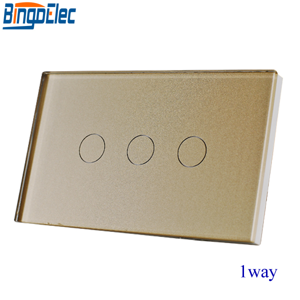 Good Quality AU/EU Standard Bingoelec Gold Crystal Toughened Glass Panel 3gang 1way Touch Switch,Wall Light Switch,110-220V smart home uk standard crystal glass panel wireless remote control 1 gang 1 way wall touch switch screen light switch ac 220v