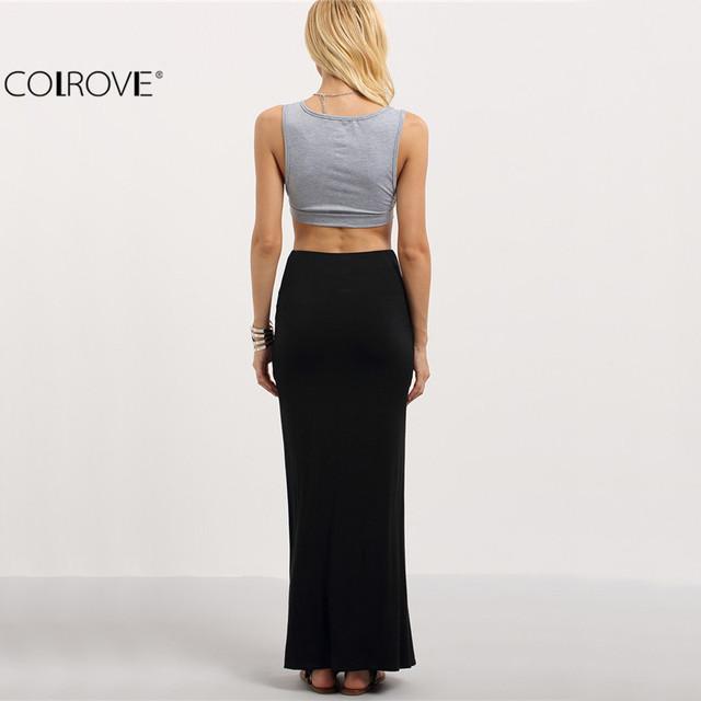 COLROVE Ladies Black Split Maxi Skirt New Arrival 2017