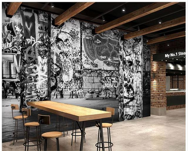 Customized Wallpaper For Walls 3 D Wall Murals Mural Retro Nostalgia Gothic Graffiti Black And