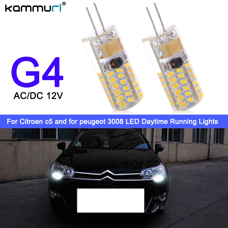 KAMMURI 2pcs drl light G4 Hp24w 34SMD 3014 12V g4 led bulbs Daytime Running Lights for Citroen c5 and for peugeot 3008 DRL