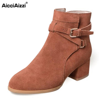 AicciAizzi Ladies Real Leather High Heel Ankle Boots Woemn Thick Heel Buckle Strap Boot Fashion Lady