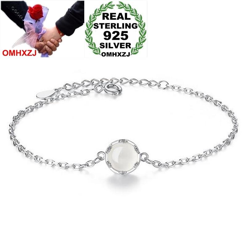 Fine Jewelry Delicious Omhxzj Wholesale Sweet Fashion Ol Woman Girl Party Gift Moonlit Forest Flower Buds White Jade 925 Sterling Silver Bracelet Sz103