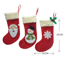 2016 New Year 3 Pieces/Set Mini Christmas Stockings Socks Santa Claus Candy Gift Bag Xmas Tree Decor Festival Party Ornament