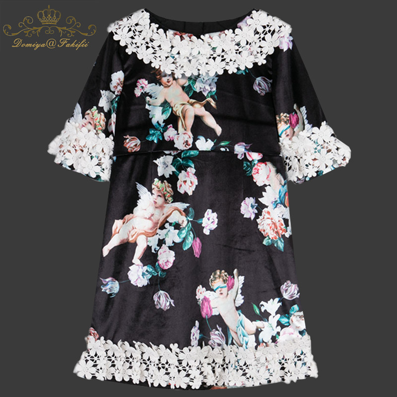 2018 Girls Velvet Dresses Baby Girls Summer Clothes Kids Princess Angel Pattern Dress Vestidos Toddler Clothing Children Dress summer baby girl printed pattern straps dresses toddler girls baby clothing sleeveless baby dress kids casual clothes yp