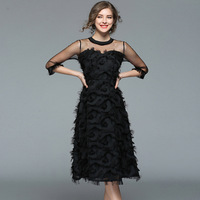 Black Sexy See Through Mesh Feathers Tunic Dress Elegant Office Party Fashion Dress Tassel 3/4 Sleeve 2019 Spring Clothing