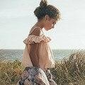 Модули Новые 2016 Девочка Оборками Топы Сладкая Девочка Летние Танки и лифчики Мягкие Одежды для 12M-5Y Малышей Девушки