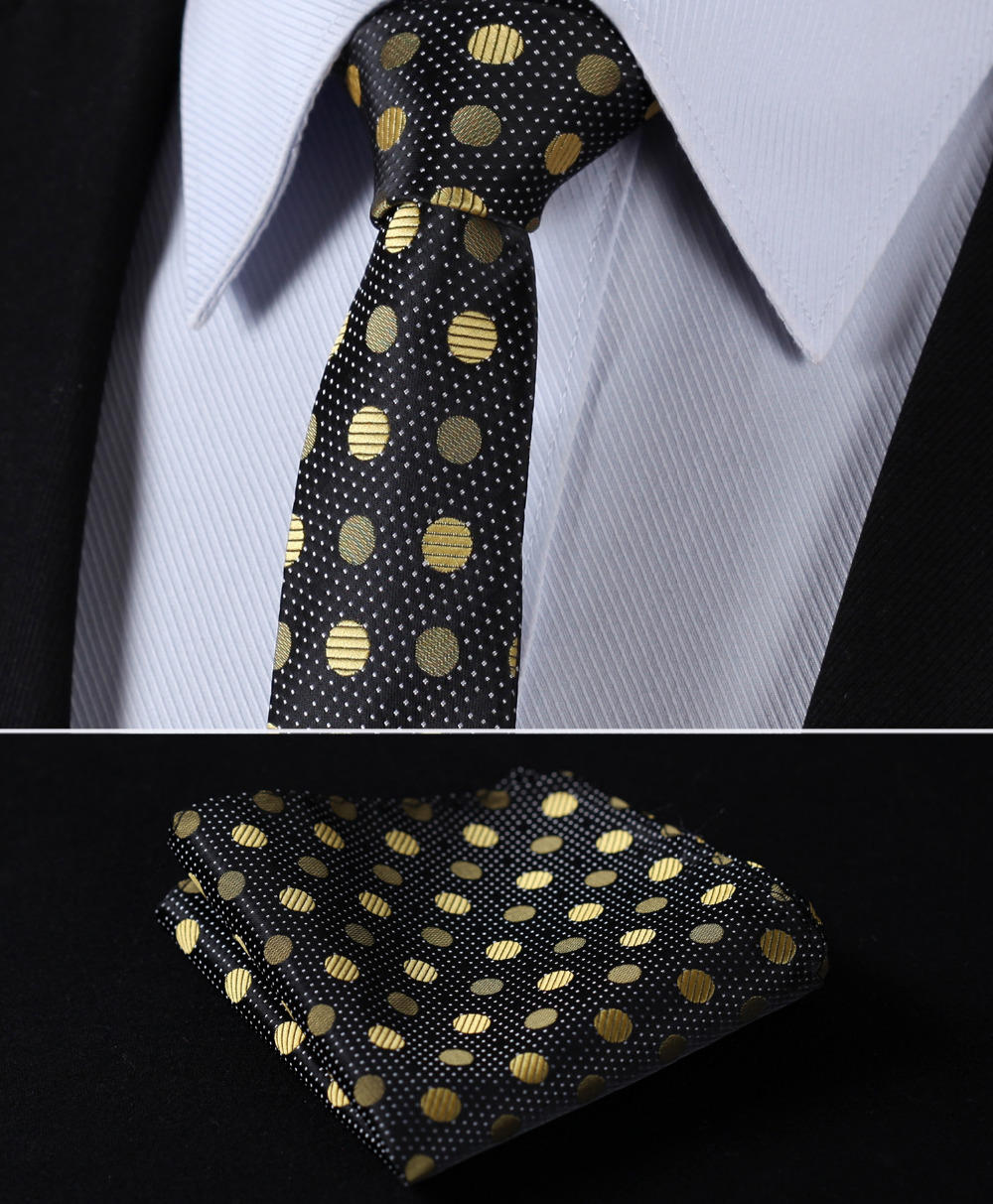 "TD801D5 Gold Black Polka Dot 2.17"" 100%Silk Woven Slim Skinny Narrow Men Tie Necktie Handkerchief Pocket Square Suit Set"