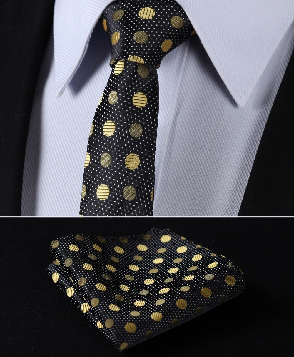 "TD801D5 Gold Black Polka Dot 2.17"" 100%Silk Woven Slim Skinny Narrow Men Tie Necktie Handkerchief Pocket Square Suit Set"
