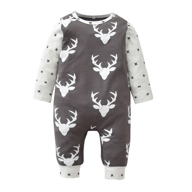 d82eb0e6 Christmas Style Newborn Baby Rompers Cute Long Sleeve Deer Printed Baby Boy  Clothes Infant Jumpsuit Toddler Baby Girl Clothing