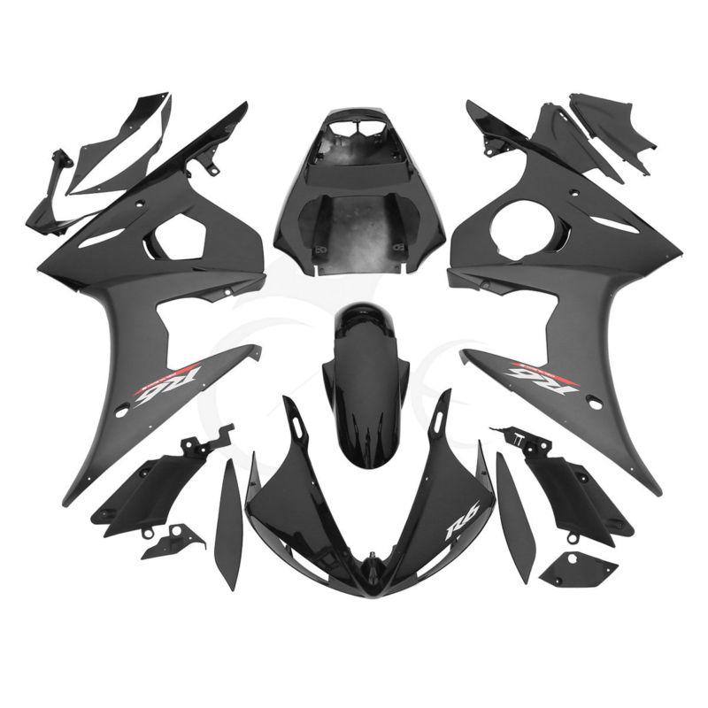 Черный ABS пластиковый обтекатель кузова Комплект для Ямаха YZF R6 в 03-04 R6S 06-09 07 20Б