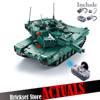 Remote Control Block Tank with Motor Building Bricks Compatible Military War M1A2 1498PCS DIY Enlighten Toys for boys
