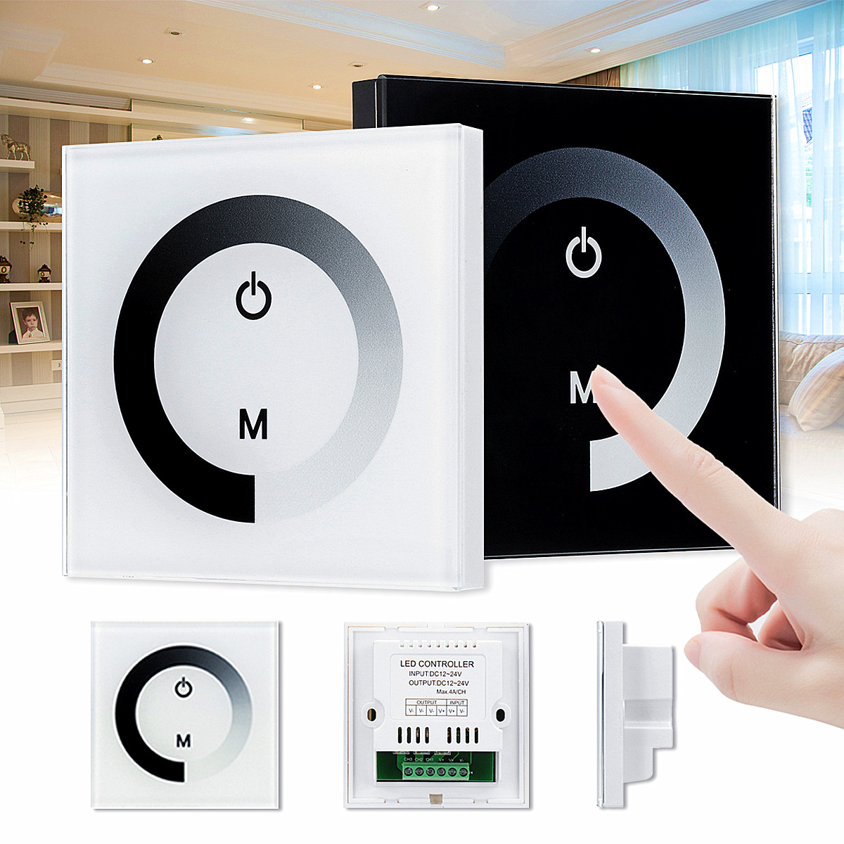 LED Controller Pannel Smart Switch Led Dimmer Touch. 12V-24V Single Color LED Touch. Switch Panel Controller LED Strip Lights ballu bhc l06 s03