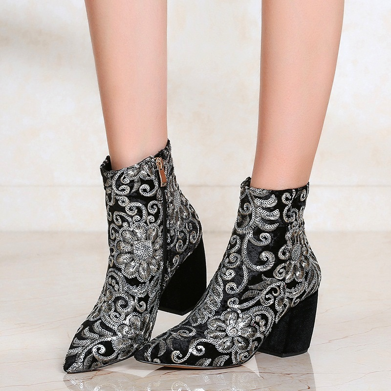Chaussures Sexy Marque Femmes Bottes Cheville Automne black Flowers Pompes Brodé Pointu Mode Talons blue red Hiver De Robe Bout Mujer Hauts Botas Black Pk8nw0O