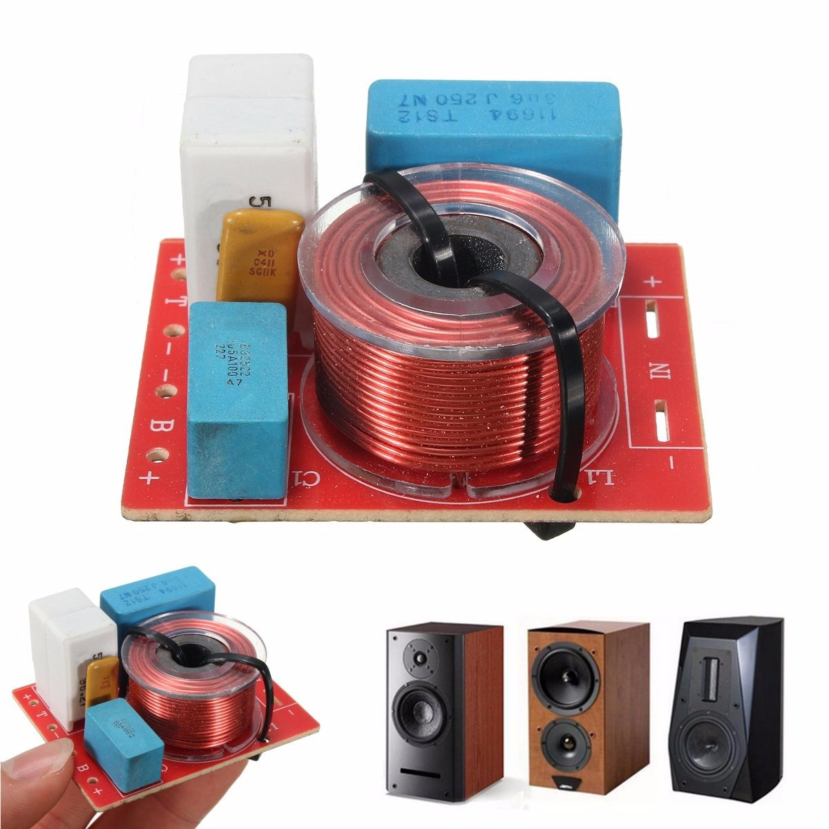 1 pc D-222 boleh laras Treble Bass Frequency Divider 45x56mm 2 Way Speaker Audio Crossover Filters 4-6 Inci 4-8 Ohms 48Hz-20KHz