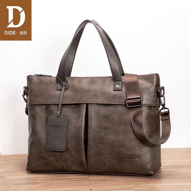 DIDE Vintage Large Capacity Messenger Bag Men Leather Laptop Bag Handbag Men's BusinessTravel Briefcase Office Bags For Men