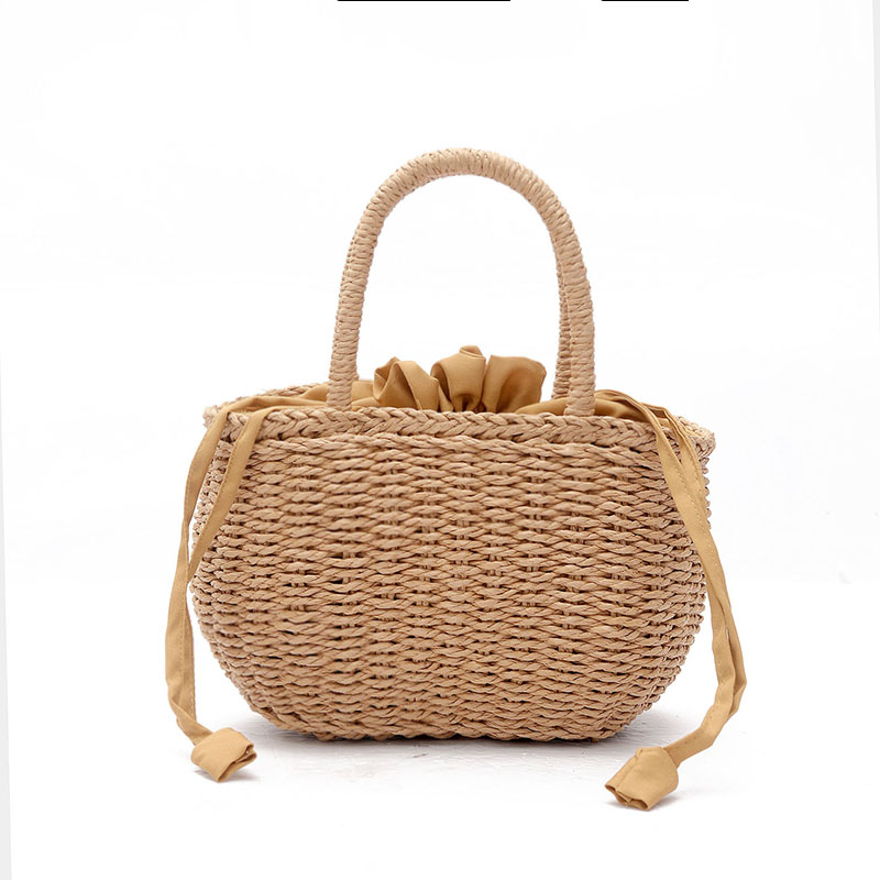 Bucket Basket Beach Bag for Summer Big Straw Bags Handmade Woven Tote Women Travel Handbags Luxury Designer Shopping Bags W507